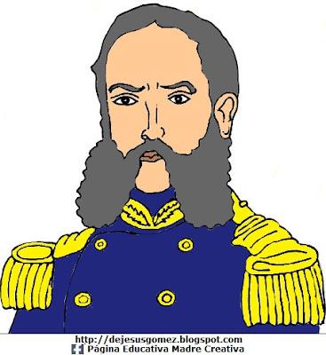 Dibujo de Andrés Avelino Cáceres a color