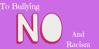 Purple background with text that says say no to racism and bullying