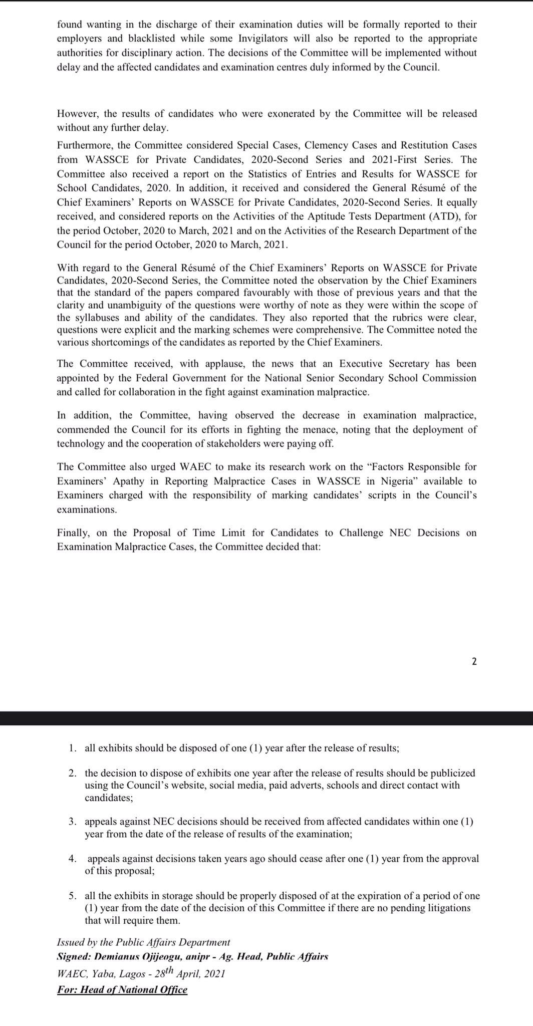 WAEC 71st NEC Meeting Outcome & Press Release 2021