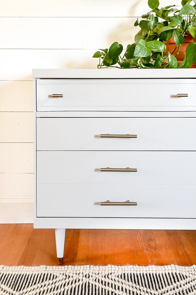 Mid century modern gray painted Bassett Dresser