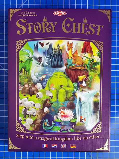 Story Chest Family Board Game box front with image showing huge variety of mythical and real creatures, people, scenery and buildings