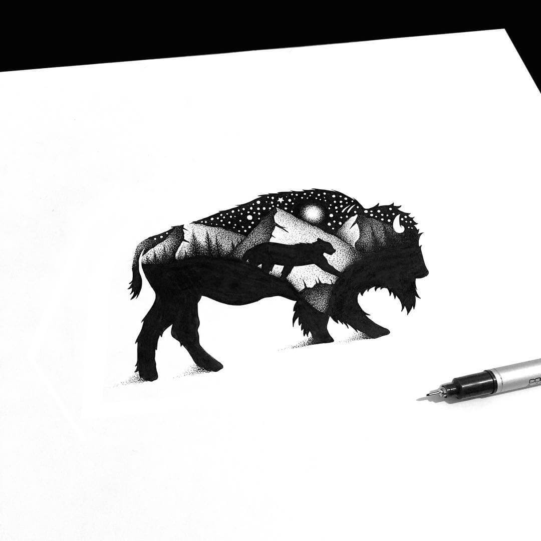03-The-Bison-and-the-Cougar-Thiago-Bianchini-Ink-Animal-Drawings-Within-a-Drawing-www-designstack-co
