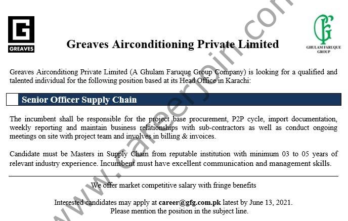 career@gfg.com.pk - Greaves Airconditioning Pvt Ltd Jobs 2021 in Pakistan