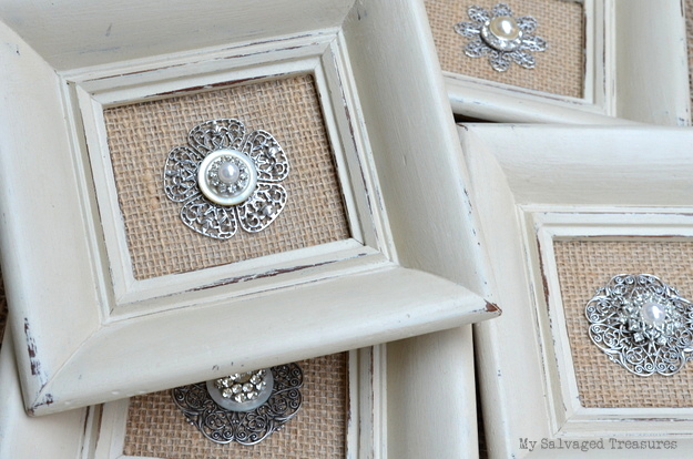 Display vintage jewels and buttons in updated frames.