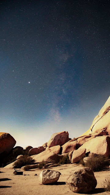 Starry Sky, Stars, Night, Nebula, Stones, Rocks
