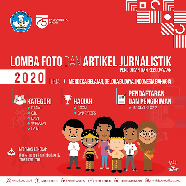 Lomba Foto dan Artikel Jurnalistik Pendidikan dan Kebudayaan  LOMBA FOTO DAN ARTIKEL JURNALISTIK PENDIDIKAN DAN KEBUDAYAAN 2020 UNTUK PELAJAR SMA/SMK/MA, GURU, DOSEN, DAN UMUM