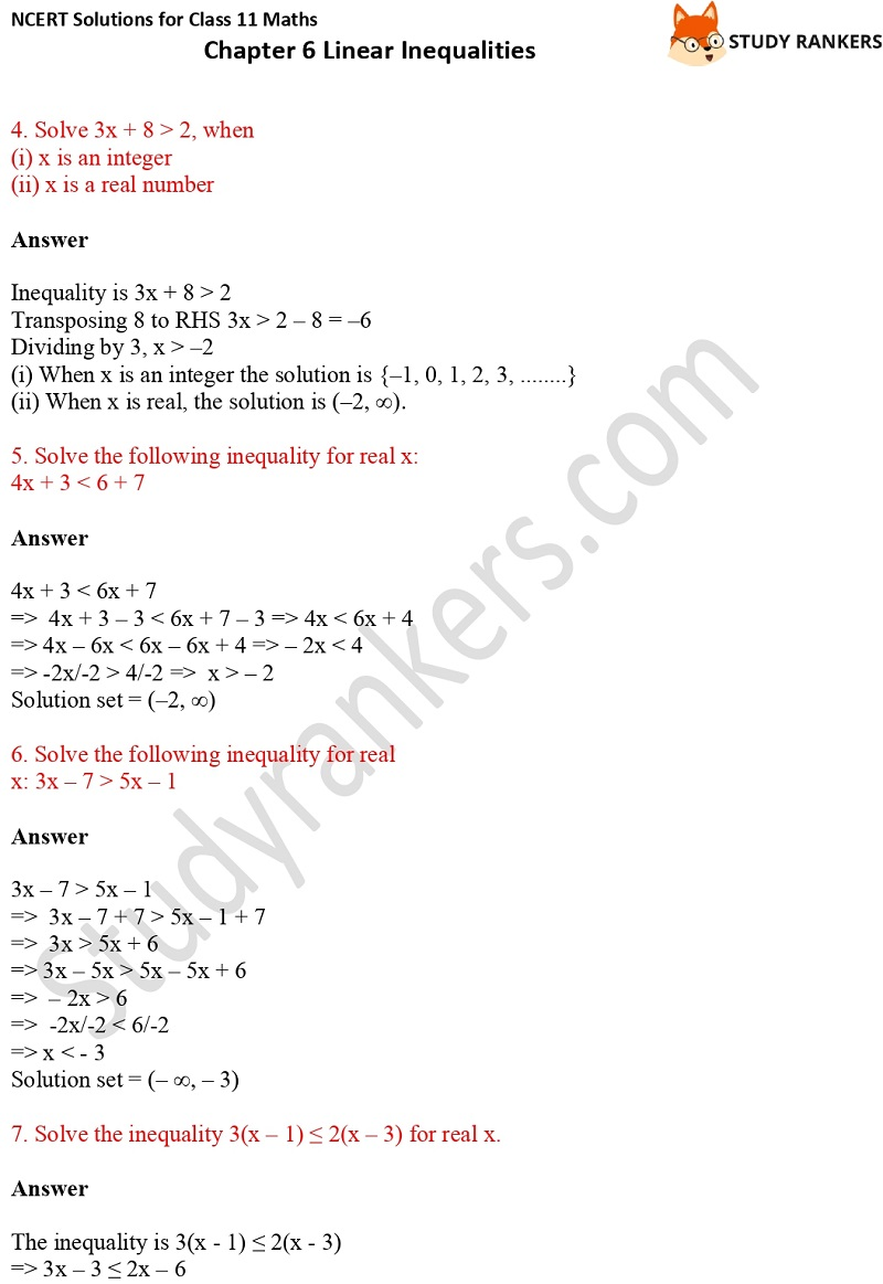 NCERT Solutions for Class 11 Maths Chapter 6 Linear Inequalities 2