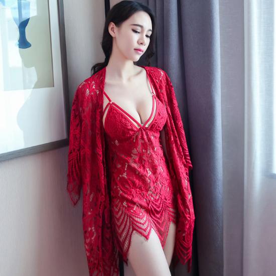 Đầm ngủ gợi cảm kèm quần chip Ebao L0102 Đỏ