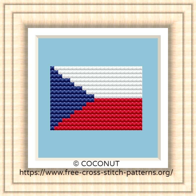 NATIONAL FLAG OF CZECH CROSS STITCH CHART