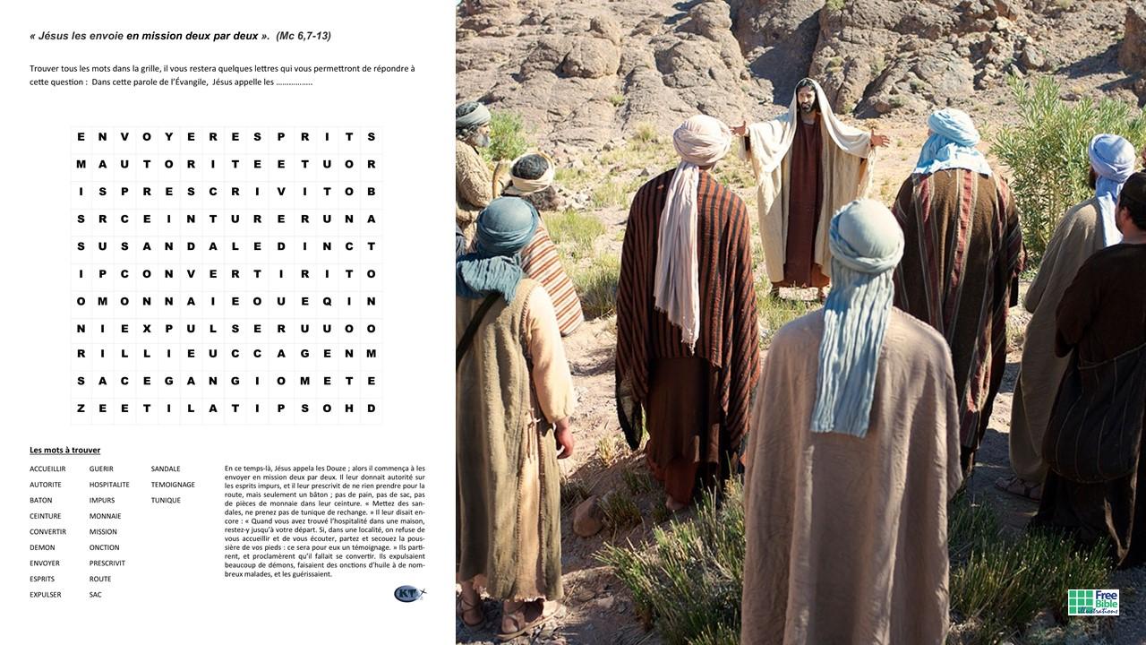 Mots cachés : Jésus appelle les douze et les envoie en mission deux par deux