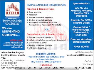 ATRIA Assistant Professor Jobs in Atria Institute of Technology 2019 Recruitment, Bangalore