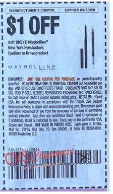 "$1/1 Maybelline New York Eyeshadow, Eyeliner or Brow Product Coupon from ""RetailMeNot"" insert week of 3/1/20. limit 1(exp-3/26)"