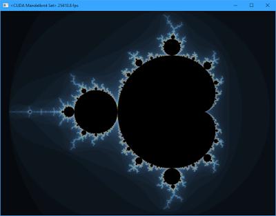 Screenshot of Mandelbrot set at full view