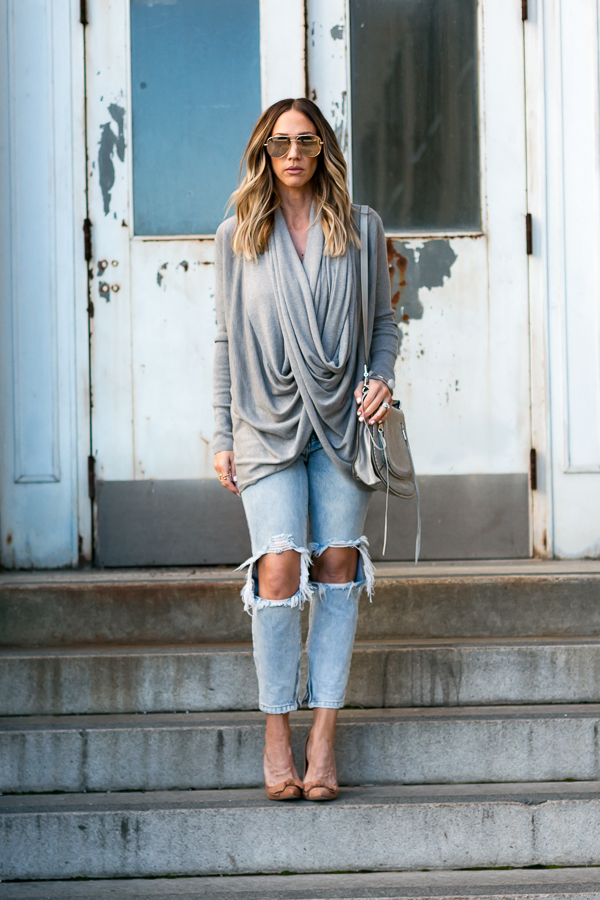 grey sweater ripped jeans saddle bag parlor girl