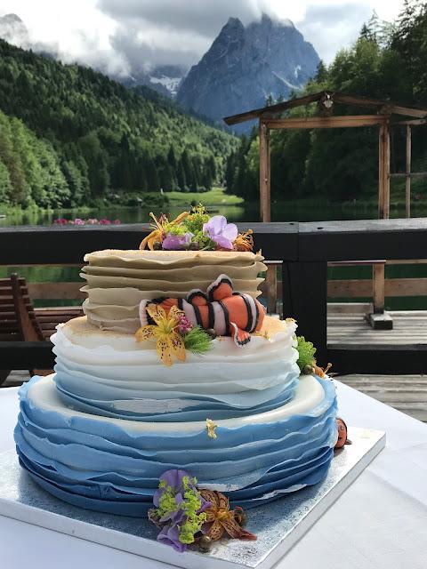 Findet Nemo Hochzeitstorte, exotisch heiraten, Malediven Karbiik-Hochzeit im Seehaus, Riessersee Hotel Garmisch-Partenkirchen Bayern, Hochzeitsplanerin Uschi Glas