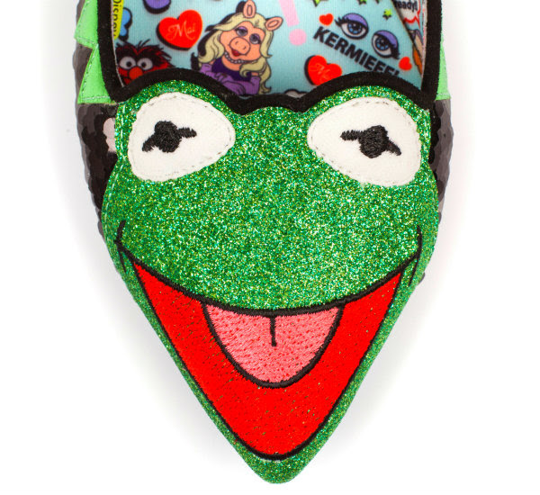 Irregular Choice Disney Kermit The Frog shoes glitter Kermit toe detail