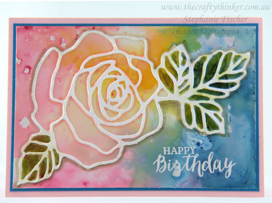 #thecraftythinker, #brusho, #cardmaking, Brusho background on glossy cardstock, Rose Garden thinlit, Stampin' Up! Australia Demonstrator, Stephanie Fischer, Sydney NSW