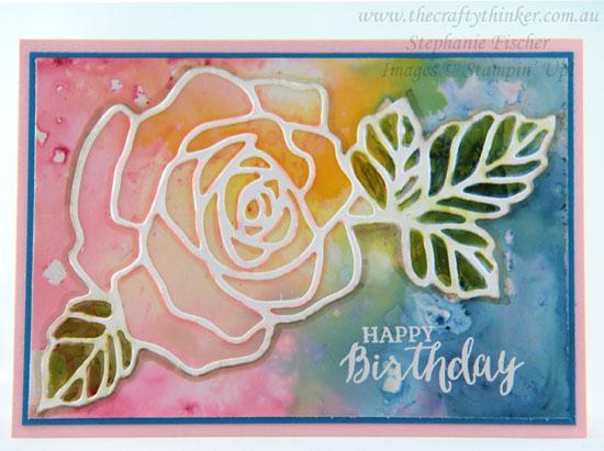 #thecraftythinker, #brusho, #cardmaking, Brusho background on glossy cardstock, Rose Garden thinlit, Stampin' Up! Australia Demonstrator, Stephanie Fischer, Sydney NSW