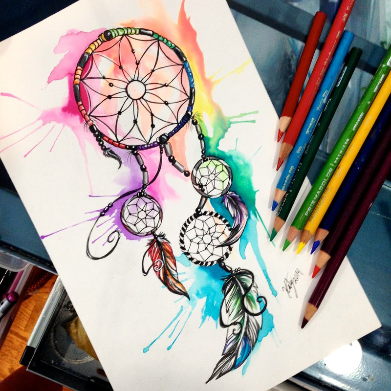 05-Dreamcatcher-Katy-Lipscomb-Lucky978-Fantasy-Watercolor-Paintings-Colored-Pencils-Drawings-www-designstack-co