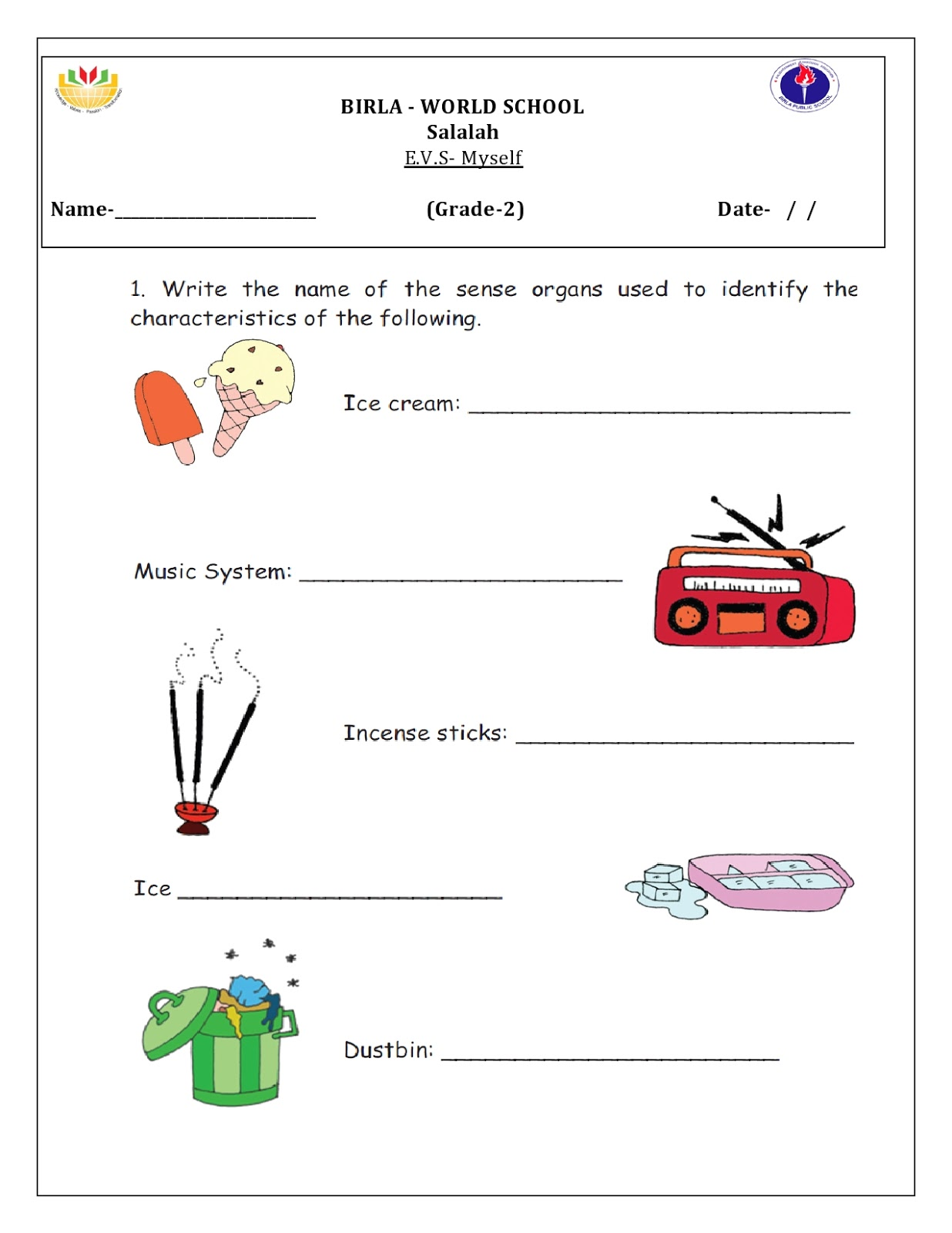 Birla World School Oman Homework For Grade 2 B On 26 5 16