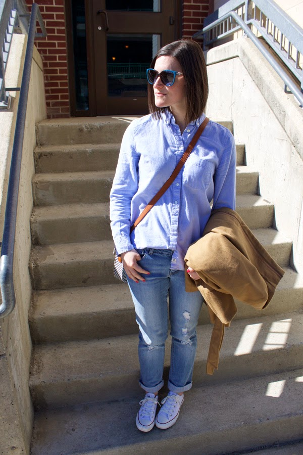 brunch, brunch outfit, boyfriend jeans, boyfriend shirt, Gap boyfriend shirt, tan coat, crossbody bag, converse chuck taylors, my style, michael kors sunglasses