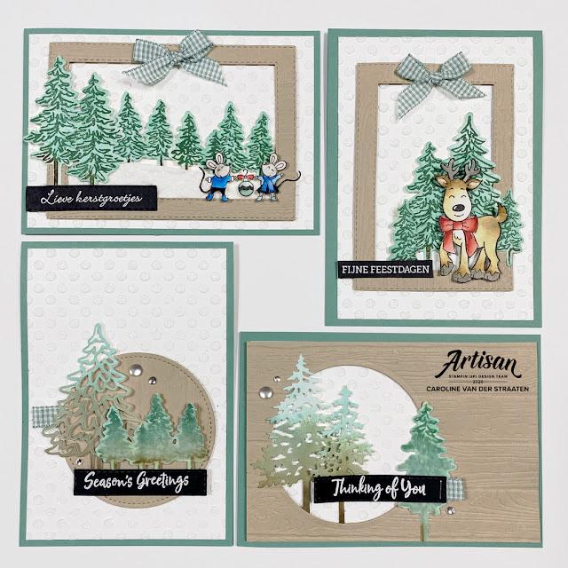Stampin' Up!, In the Pines, Warm & Toasty, Caro's Kaartjes, Artisan Design Team, kerstkaarten
