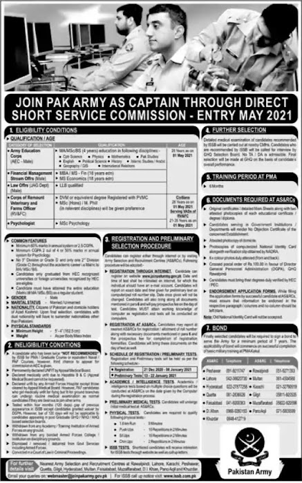 Join Pak Army as Commission Officer ( Captain ) 2021