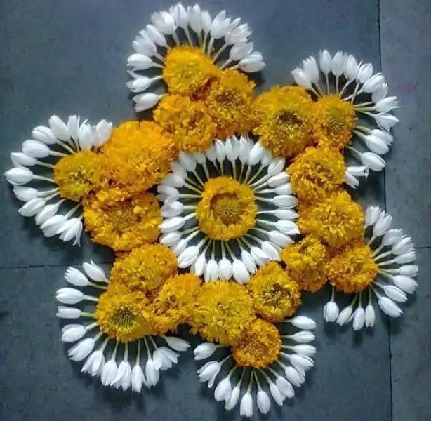 circular rangoli made up of flower