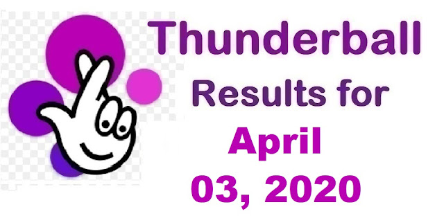 Thunderball Results for Friday, April 03, 2020