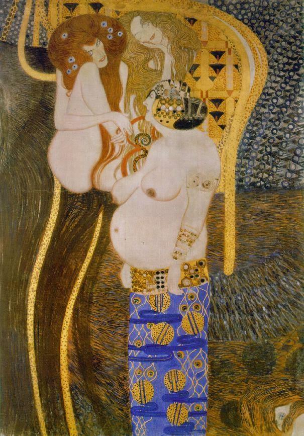 O Beethoven Frieze II - Gustav Klimt e suas pinturas ~ Pintor simbolista austríaco