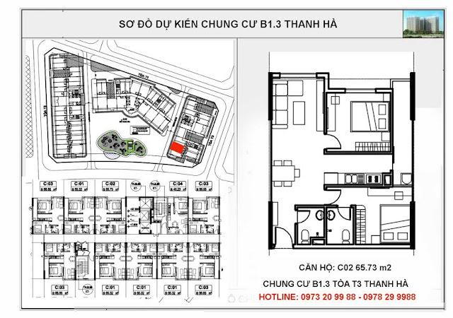 Sơ đồ mặt bằng thiết kế căn C02 tòa T3 chung cư B1.3 Thanh Hà