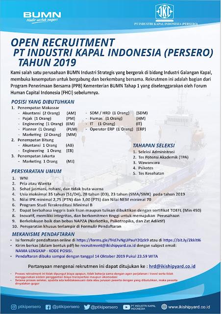 Lowongan Kerja PT Industri Kapal Indonesia (Persero)