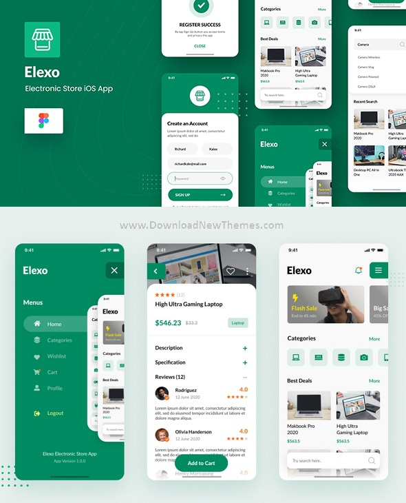 Electronic Store iOS App Design Figma Template