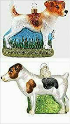 Jack Russell glass Christmas ornament