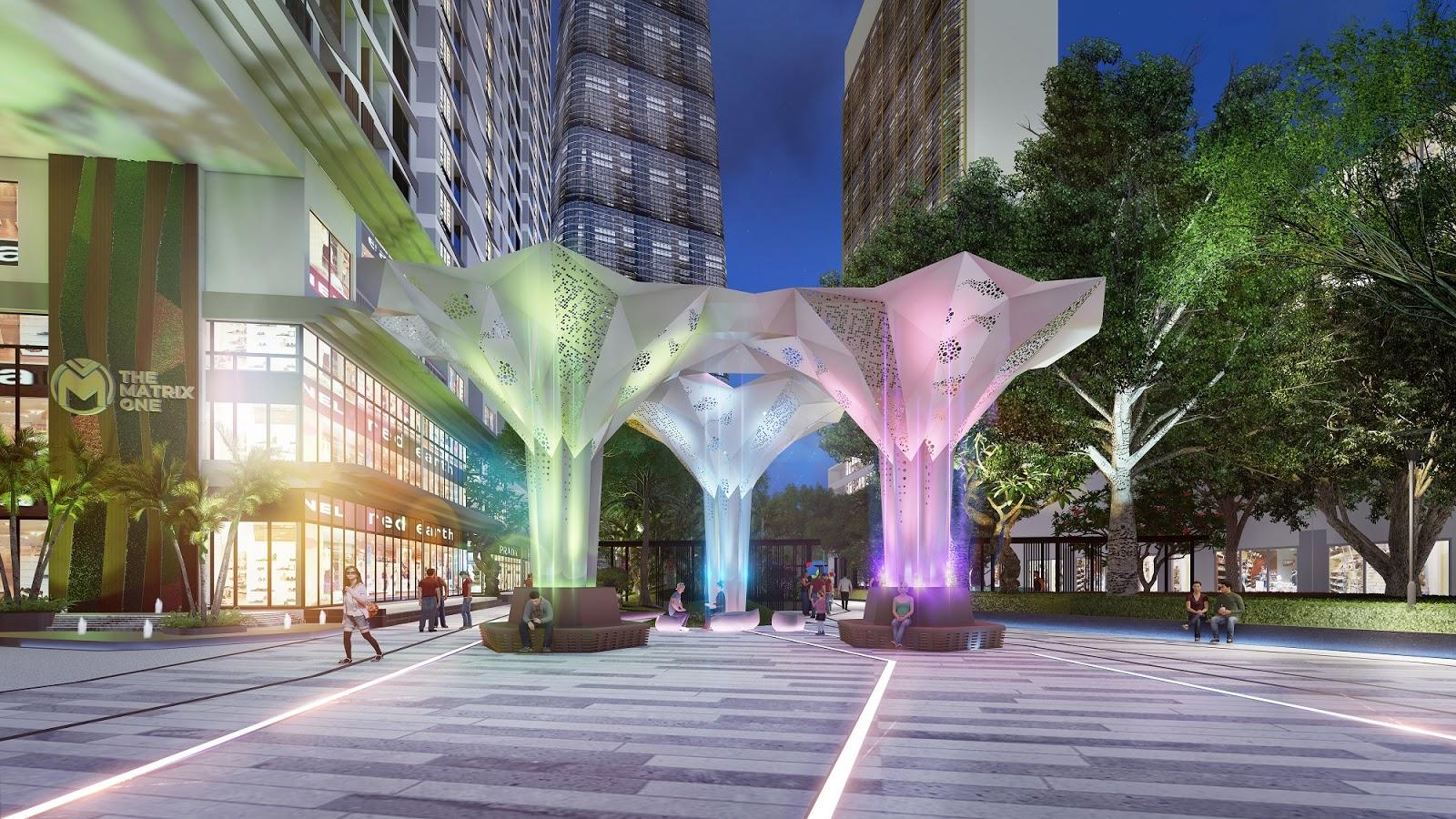Nội khu xanh mát và lung linh ánh đèn của The Matrix One