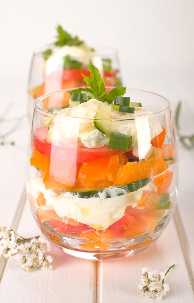 Melonensalat im Glas. Salat mit Melone. Edyta Guhl.