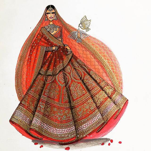 03-Indian-Dress-Drawings-Anoopbarwa-www-designstack-co