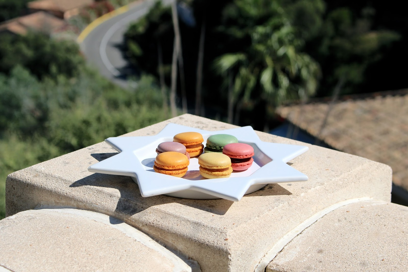 A plate of pretty and colourful macarons