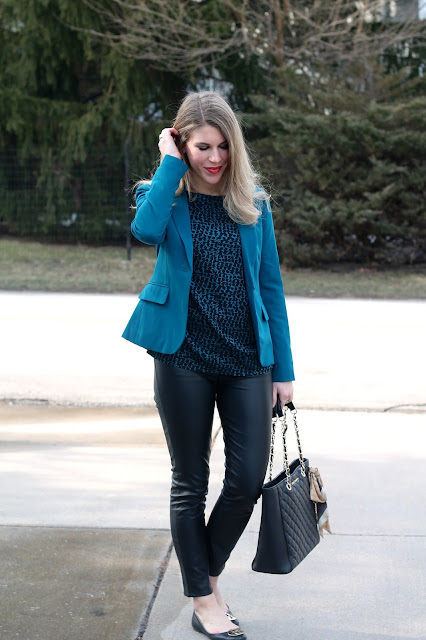 black and teal blouse, teal blazer, leather pants,Tory Burch flats, Greg Michaels leather tote