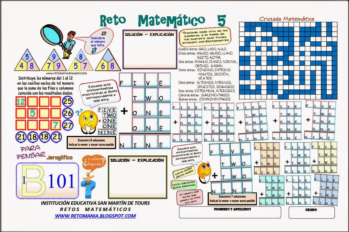 Descubre el número, El número que falta, Piensa Rápido, Jeroglíficos, Cruzadas, Cruzada matemática, Cruzapalabras, Palabras Cruzadas, Criptoaritmética, Criptogramas, Criptosumas, Alfaméticas, Juego de letras, Descubre los números, Retos matemáticos, Desafíos matemáticos, Problemas matemáticos, Problemas para pensar, Problemas de lógica
