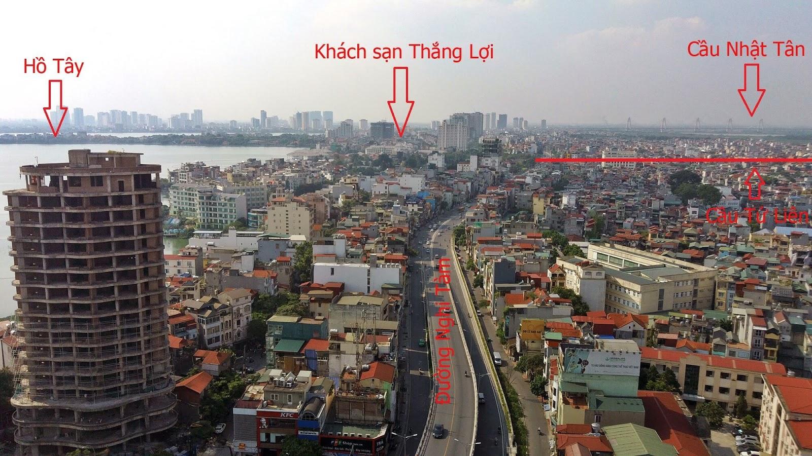 Khu vực đường Nghi Tàm chân cầu Tú Liên phía Tây Hồ.