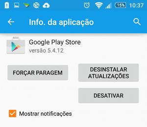 Remover atualizações no Android