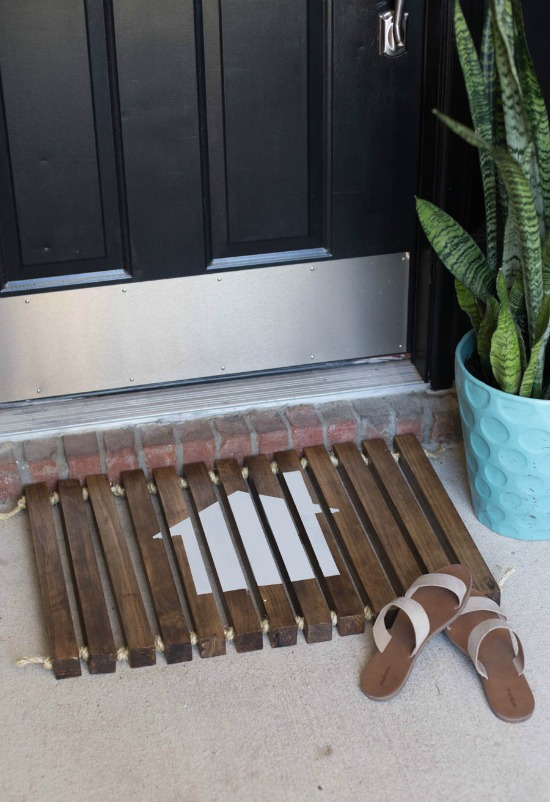 DIY house stenciled doormat