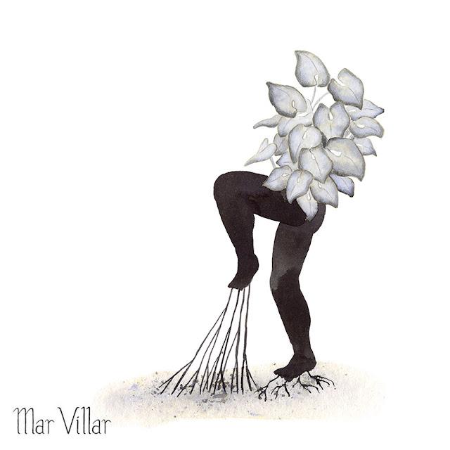 Inktober, Inktober 2016, plantas, singonio, raíces, ilustración a tinta, silueta humana, tinta, aguada de tinta, quink, tinta parker