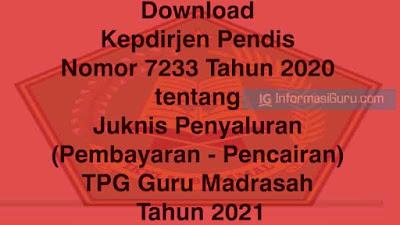 Download Kepdirjen Pendis Nomor 7233 Tahun 2020 tentang Juknis Penyaluran (Pembayaran dan  Pencairan) TPG Guru Madrasah Tahun 2021 I PDF