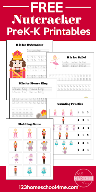 FREE Printable Nutcracker Worksheets make it fun for students from preschool, kindergarten, and first grades students to practice handwriting, counting and matching. These are a great addition to any Christmas elementary music lesson.