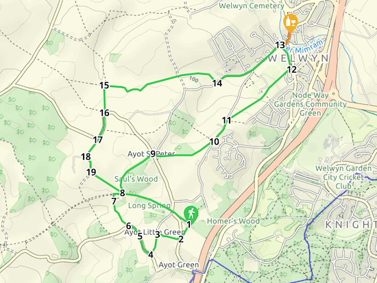 Map for Walk 12: Old Welwyn Loop  Created on Map Hub by Hertfordshire Walker  Elements © Thunderforest © OpenStreetMap contributors  Note: There is a larger, more detailed map embedded at the end of these directions
