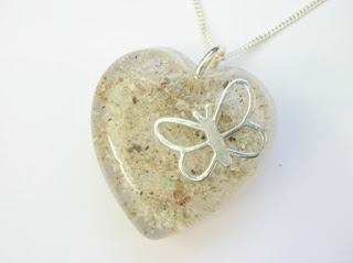 Ashes and silver butterfly memorial pendant