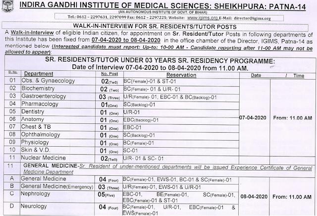 IGIMS Patna Bihar Sr. Resident Tutor Recruitment 2020