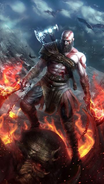 Papel de Parede Gamer para Celular Kratos God Of War